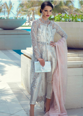 Mushq Embroidered Net Unstitched 3 Piece Suit MQ19WD 07 SILVER QUEEN - Wedding Collection