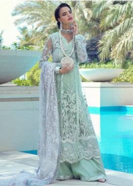 Mushq Embroidered Net Unstitched 3 Piece Suit MQ19WD 08 HEMLOCK - Wedding Collection