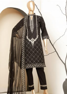 MTF Embroidered Lawn Unstitched 3 Piece Suit MTF20BW 03 - Black & White Collection