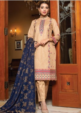 Creations by MTF Embroidered Cotton Unstitched 3 Piece Suit MTF20CT 02 - Formal Collection