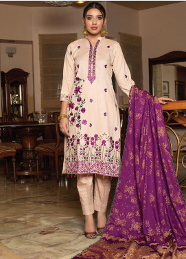 Creations by MTF Embroidered Cotton Unstitched 3 Piece Suit MTF20CT 04 - Formal Collection