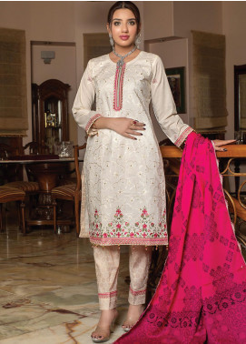 Creations by MTF Embroidered Cotton Unstitched 3 Piece Suit MTF20CT 06 - Formal Collection