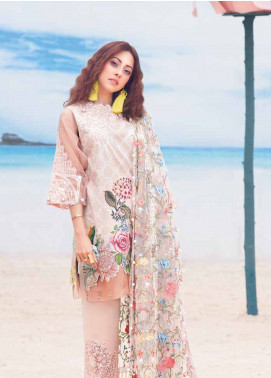 MusCari Embroidered Lawn Unstitched 3 Piece Suit MC19L 01 PEACH SAND - Spring / Summer Collection