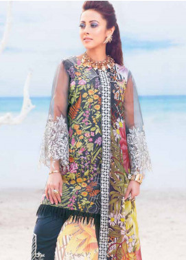 MusCari Embroidered Lawn Unstitched 3 Piece Suit MC19L 02 IRON BLACK - Spring / Summer Collection
