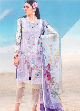 MusCari Embroidered Lawn Unstitched 3 Piece Suit MC19L 04 LILAC SHEER - Spring / Summer Collection