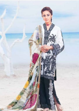 MusCari Embroidered Lawn Unstitched 3 Piece Suit MC19L 07 OREO - Spring / Summer Collection