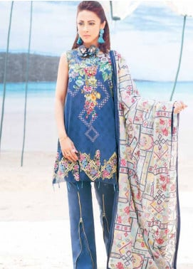 MusCari Embroidered Lawn Unstitched 3 Piece Suit MC19L 08 OCEAN DEPTH - Spring / Summer Collection