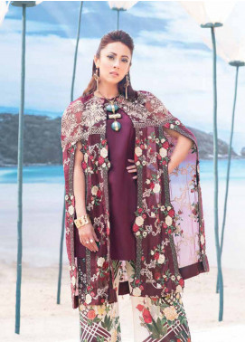 MusCari Embroidered Lawn Unstitched 3 Piece Suit MC19L 5A RED WINE - Spring / Summer Collection
