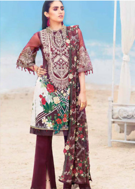 MusCari Embroidered Lawn Unstitched 3 Piece Suit MC19L 5B RED WINE - Spring / Summer Collection