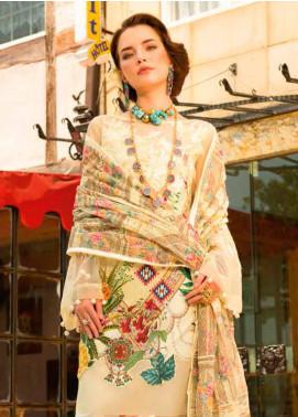 MusCari Embroidered Lawn Unstitched 3 Piece Suit MC19F 05 VANILA - Festive Collection