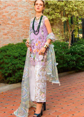 MusCari Embroidered Lawn Unstitched 3 Piece Suit MC19F 11 PALE LILAC - Festive Collection