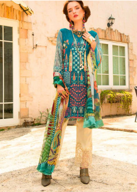 MusCari Embroidered Lawn Unstitched 3 Piece Suit MC19F 12 VINTAGE TEAL - Festive Collection