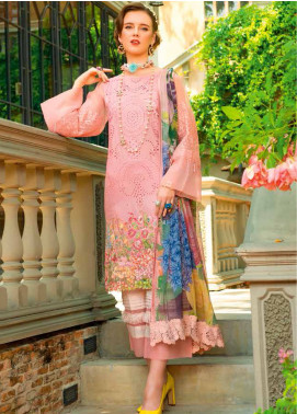 MusCari Embroidered Chikankari Unstitched 3 Piece Suit MC19F 13 CLOUD PINK - Festive Collection