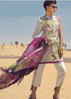 Mushq Embroidered Cotton Net Unstitched 3 Piece Suit MSQ19F 06 WADI - Eid Collection