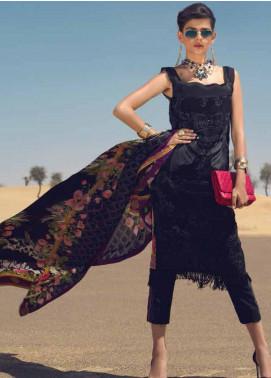 Mushq Embroidered Cotton Net Unstitched 3 Piece Suit MSQ19F 10 GYPSUM - Eid Collection