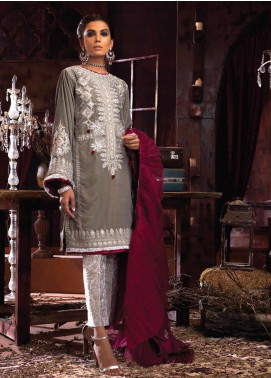 Mushq Embroidered Velvet Unstitched 3 Piece Suit MQ19V 02 DESERT SAGE - Winter Collection