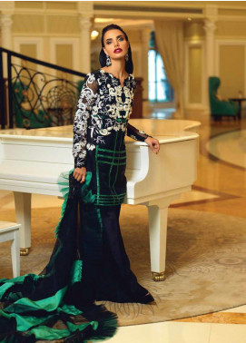Mushq Embroidered Organza Unstitched 3 Piece Suit MSQ19FL 01 NOIRE IDOLE - Luxury Collection