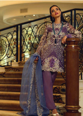 Mushq Embroidered Organza Unstitched 3 Piece Suit MSQ19FL 02 WILD ORCHID - Luxury Collection