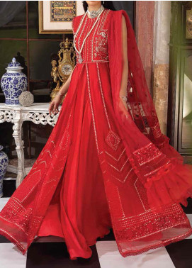 Mushq Embroidered Chiffon Unstitched 3 Piece Suit MQ20TL 10 SCARLET SYMPHONY - Luxury Collection