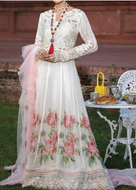 Mushq Embroidered Chiffon Unstitched 3 Piece Suit MQ20TL 6 WHITE DOVE - Luxury Collection
