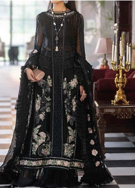 Mushq Embroidered Chiffon Unstitched 3 Piece Suit MQ20TL 7 ONYX DREAM - Luxury Collection