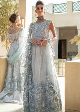 Trousseau de Luxe by Mushq Embroidered Net Unstitched 3 Piece Suit MQ20WD 1 Morning Mist - Luxury Collection