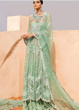Tales of the Desert by Mushq Embroidered Net Unstitched 3 Piece Suit MQ21TD 04 OPAL - Wedding Collection