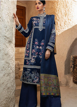 Winter Sky by Mushq Embroidered Velvet Unstitched 3 Piece Suit MQ20W 06 Blue Heaven - Winter Collection