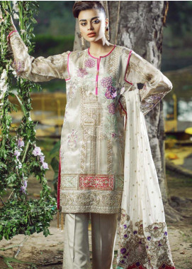 Hayyat Premium Embroidered Net Unstitched 3 Piece Suit HYP20MW 01 Moonlight Swish - Luxury Collection