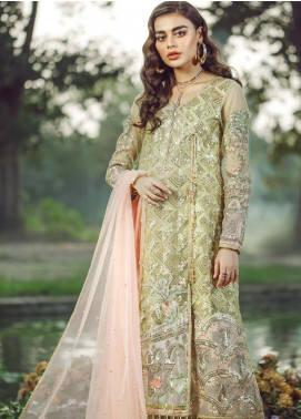 Hayyat Premium Embroidered Net Unstitched 3 Piece Suit HYP20MW 03 Seraphic Moss - Luxury Collection