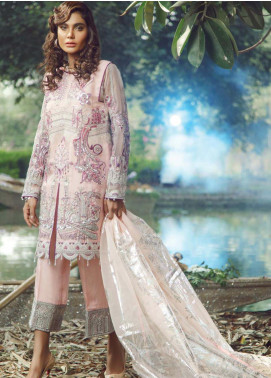 Hayyat Premium Embroidered Organza Unstitched 3 Piece Suit HYP20MW 04 Opulent Cerise - Luxury Collection