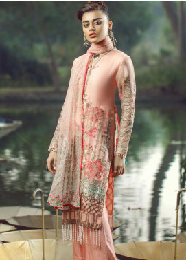 Hayyat Premium Embroidered Organza Unstitched 3 Piece Suit HYP20MW 05 Blanched Coral - Luxury Collection