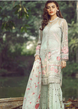 Hayyat Premium Embroidered Net Unstitched 3 Piece Suit HYP20MW 06 Mavi - Luxury Collection