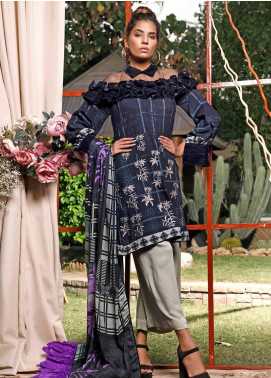 Mystique Embroidered Leather Unstitched 3 Piece Suit MYS19W 12 - Winter Collection