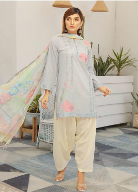 Puri Fabrics Embroidered Lawn Unstitched 3 Piece Suit P20NS 4 - Spring / Summer Collection
