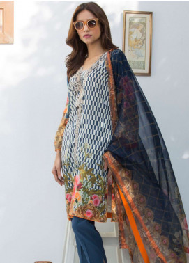 Nisha Bawany by Regalia Textiles Embroidered Lawn Unstitched 3 Piece Suit NB19L 7A - Spring / Summer Collection