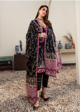 Noor by Saadia Asad Embroidered Linen Unstitched 3 Piece Suit SA20NW 01 Black - Winter Collection