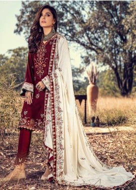 Noor by Saadia Asad Embroidered Linen Unstitched 3 Piece Suit SA20NW 02 Rosewood - Winter Collection