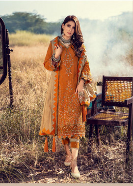 Noor by Saadia Asad Embroidered Khaddar Unstitched 3 Piece Suit SA20NW 03 Tangerine - Winter Collection