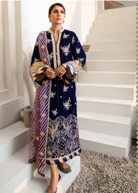 Noor by Saadia Asad Embroidered Velvet Unstitched 3 Piece Suit SA20NW 04 Indigo Blue - Winter Collection