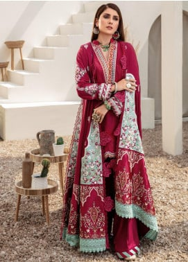 Noor by Saadia Asad Embroidered Jacquard Unstitched 3 Piece Suit SA20NW 05 Plum - Winter Collection