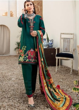 Noor by Saadia Asad Embroidered Jacquard Unstitched 3 Piece Suit SA20NW 06 Basil - Winter Collection