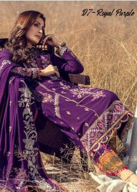 Noor by Saadia Asad Embroidered Linen Unstitched 3 Piece Suit SA20NW 07 Royal Purple - Winter Collection