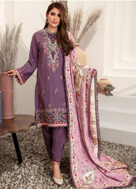 Noor by Saadia Asad Embroidered Khaddar Unstitched 3 Piece Suit SA20NW 09 Mauve - Winter Collection