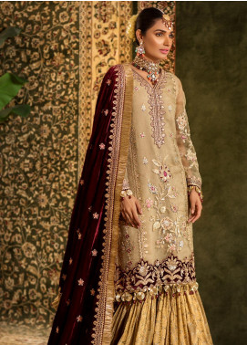 Noor by Saadia Asad Embroidered Organza Unstitched 3 Piece Suit NO19WE 4 - Wedding Collection