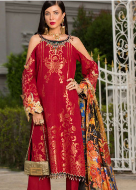 Saadia Asad Embroidered Jacquard Zari Lawn Unstitched 3 Piece Suit NSA19F 04 - Festive Collection