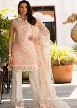 Saadia Asad Embroidered Woven Jacquard Silk Lawn Unstitched 3 Piece Suit NSA19F 08 - Festive Collection