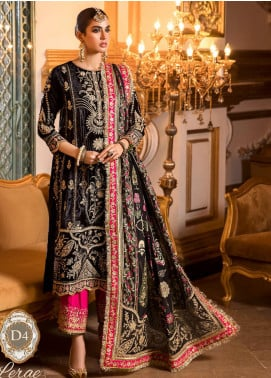 NOOR by Saadia Asad Embroidered Velvet Unstitched 3 Piece Suit SA20F 4 Lerae - Festive Collection