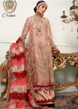 NOOR by Saadia Asad Embroidered Chiffon Unstitched 3 Piece Suit SA20F 5 Crina - Festive Collection