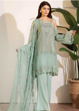 Noor Jahan Embroidered Chiffon Unstitched 3 Piece Suit NJ19W 04 - Wedding Collection